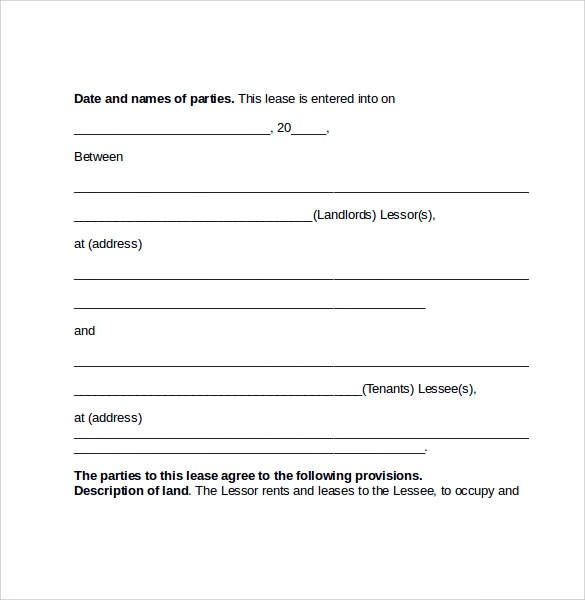 Sample Pasture Lease Agreement Template  NodeResumeTemplate