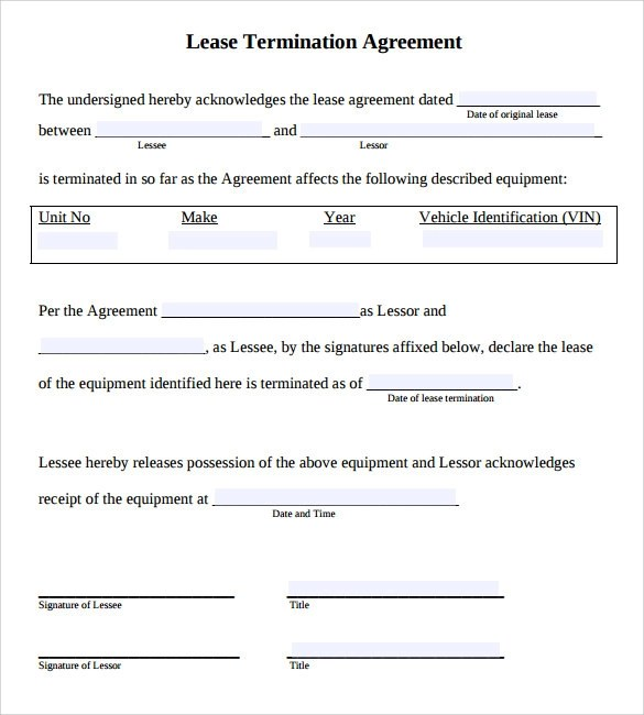 Lease Termination Agreement Personal Property Rental Agreement - lease termination form