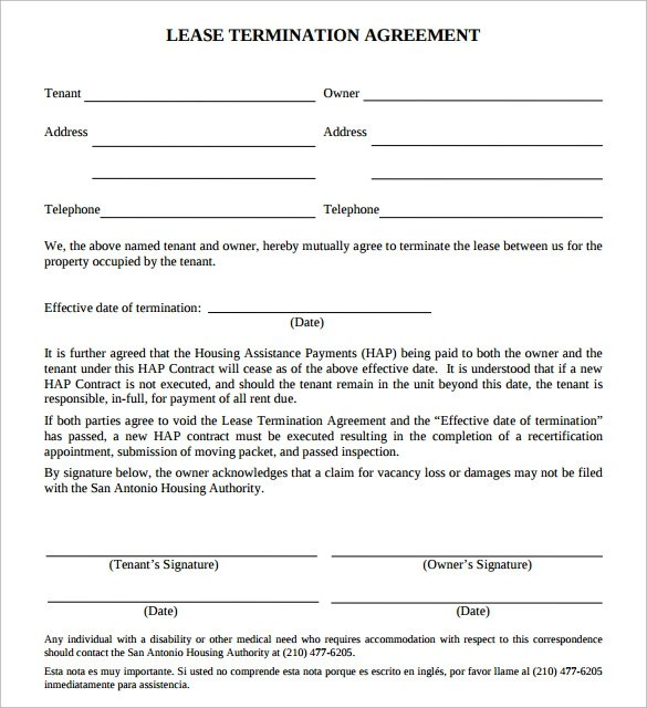 Sample Lease Termination Agreement - 13+ Free Documents Download in