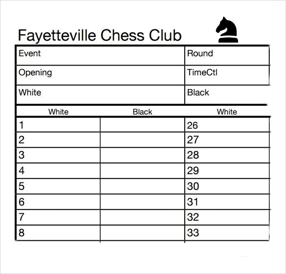 Sample Chess Score Sheet - 8+ Free Documents Download in PDF, Word