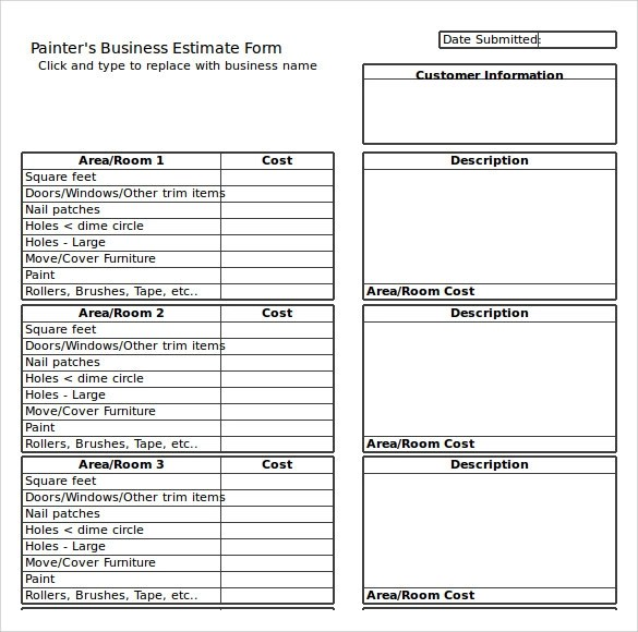 9+ Painting Estimate Templates \u2013 PDF, Excel Sample Templates