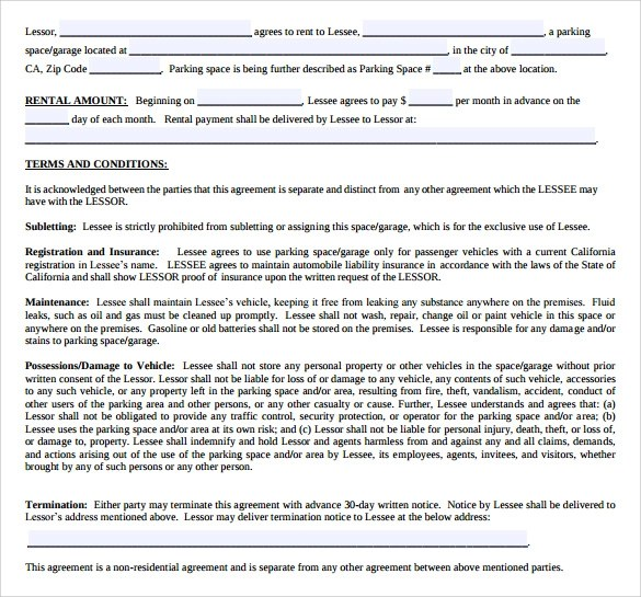 Sample Parking Lease Agreement New Jersey Residential Tenancy - parking agreement template