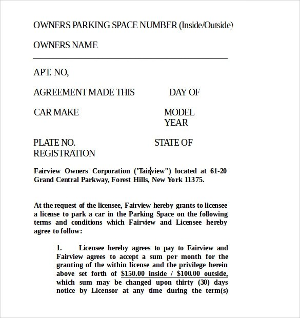 Sample Parking Lease Template - 9+ Free Documents Download In PDF - lease template word
