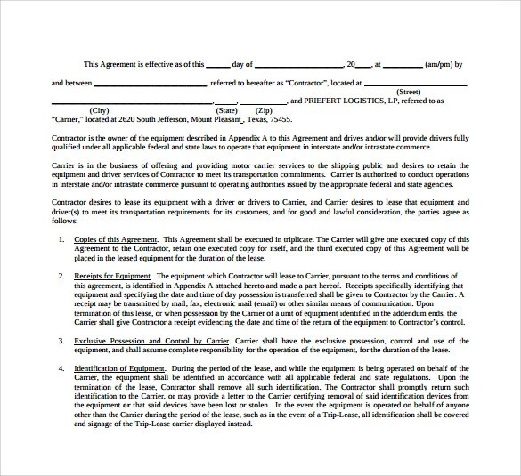 Owner Operator Contract Agreement Pdf  Resume Maker Create
