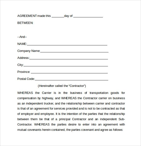 Trucking Lease Agreement Owner Operator  Sample Curriculum Vitae