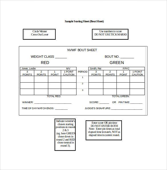 Sample wrestling score sheet