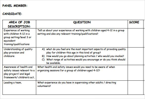 Sample Interview Score Sheet newyearoltestinfo