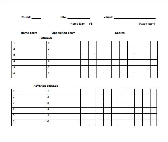 Sample Tennis Score Sheet u2013 7 + Example, Format - sample tennis score sheet template