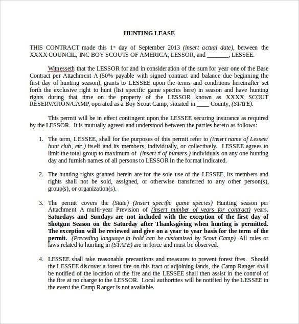 11+ Sample Hunting Lease Agreements Sample Templates