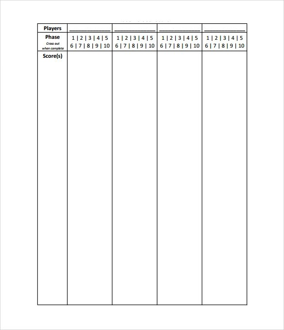 Best Phase 10 Score Sheet Template Photos Top Resume Revision – Phase 10 Score Sheet Template