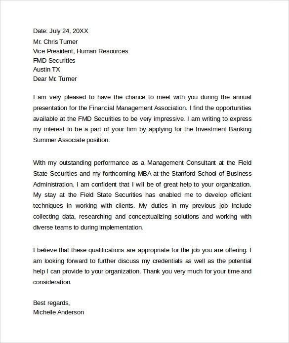 Sample Cover Letter For Bank - banking cover letter