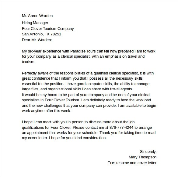 8 Simple Cover Letter Templates \u2013 Samples , Examples  Formats