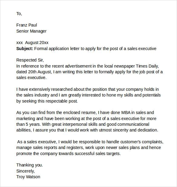 sample cover letter word