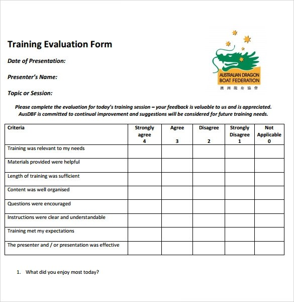 Training Evaluation Form - 7+ Samples , Examples  Format