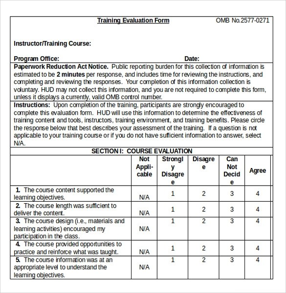 Training Evaluation Form In Doc  NodeCvresumePaasproviderCom