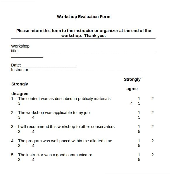 Post Training Evaluation Form Doc | Resume For Vocational Teachers