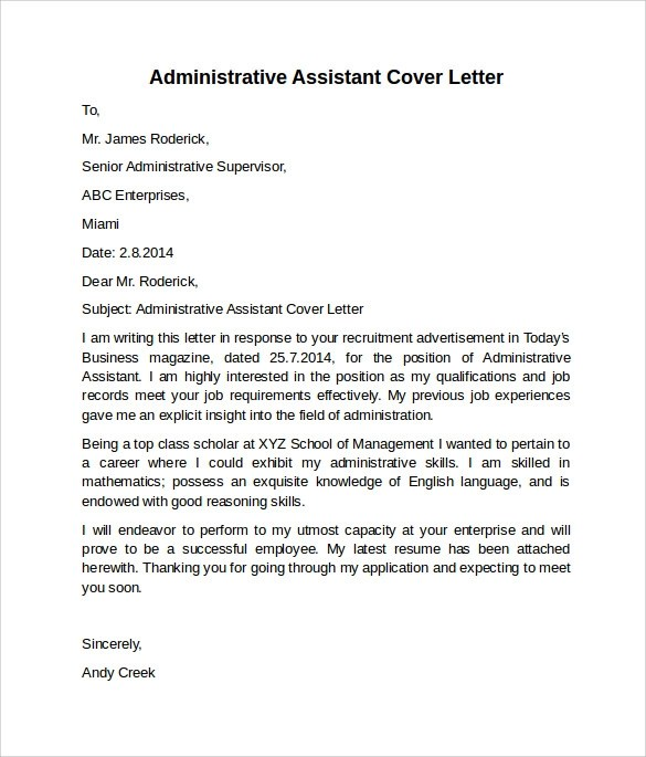 10 Administrative Assistant Cover Letters \u2013 Samples , Examples - examples of cover letters for resumes for administrative assistants