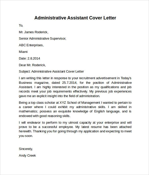 entry level executive assistant cover letter