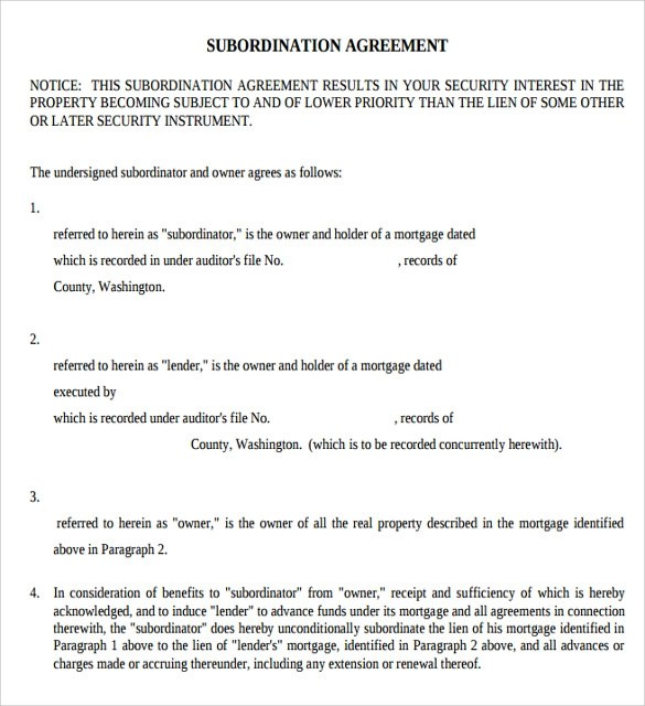 Sample Subordination Agreement Template Perpetual Loan - mortgage contract template