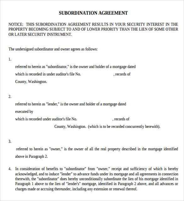 9+ Sample Subordination Agreements Sample Templates