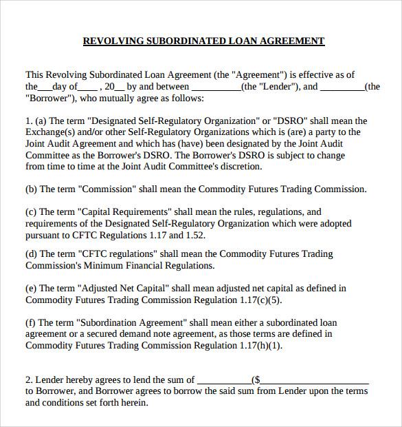 sample subordination agreement template - fototango