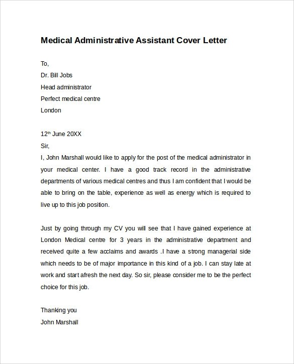 medical administrative assistant cover letter - Deanroutechoice - Sample Administrative Assistant Cover Letter