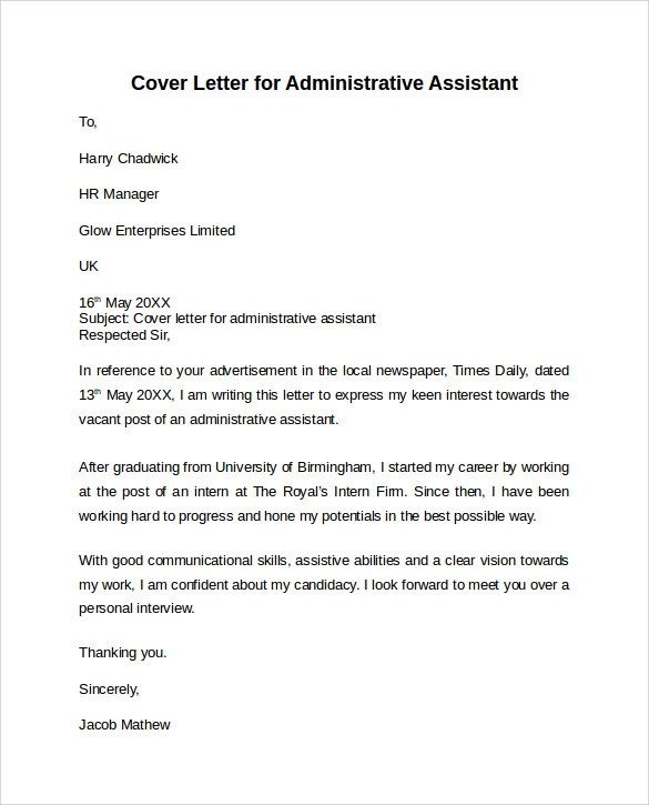 cover letter for office assistant
