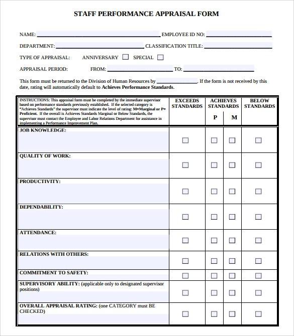 Sample Job Performance Evaluation Form - 7+ Documents In PDF, Word - job performance evaluation form templates