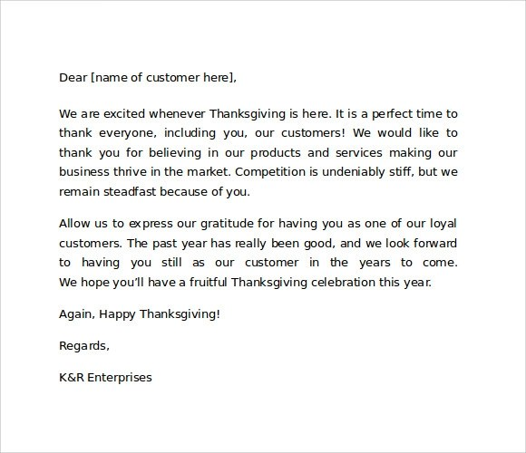 Sample Thank You for Your Business Letters \u2013 7 Samples , Examples