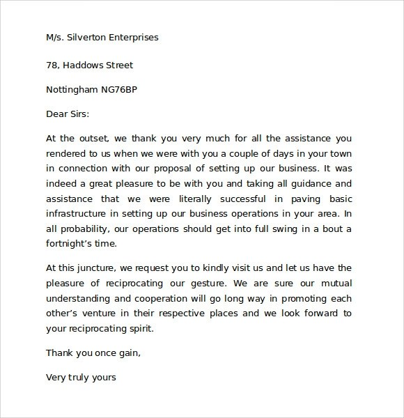7 Sample Thank You for Your Business Letters \u2013 Samples , Examples