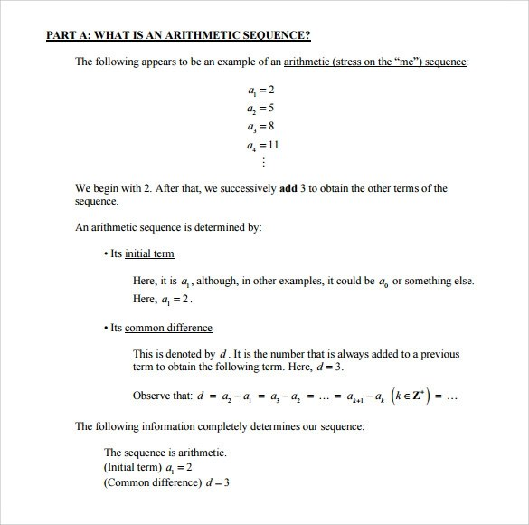 7+ Sample Arithmetic Sequence Examples Sample Templates