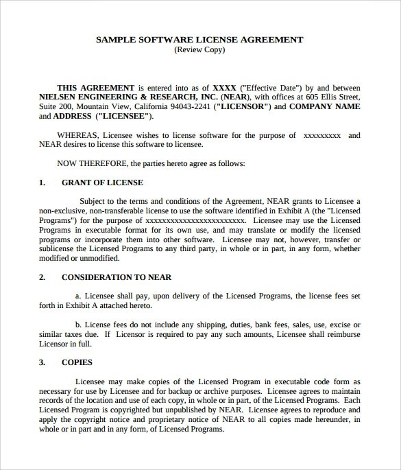 7+ Sample Software License Agreements Sample Templates