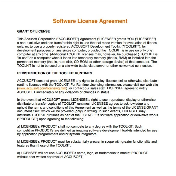 Software License Agreement Choice Image - Agreement Letter Format - sample software license agreement