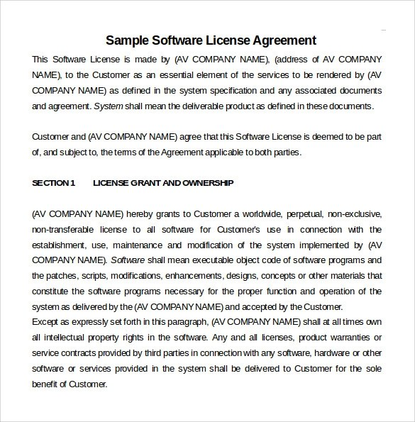 Sample Software License Agreement - Example, Format - sample licensing agreement