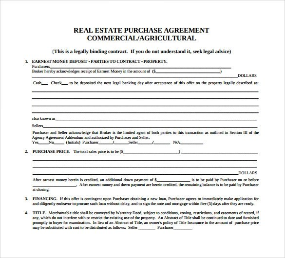 Sample Real Estate Purchase Agreement Sales Agreement Form