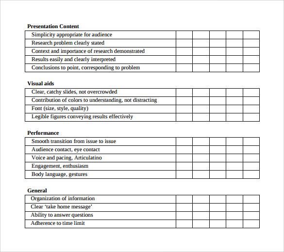 9 Presentation Evaluation Forms \u2013 Samples, Examples  Formats