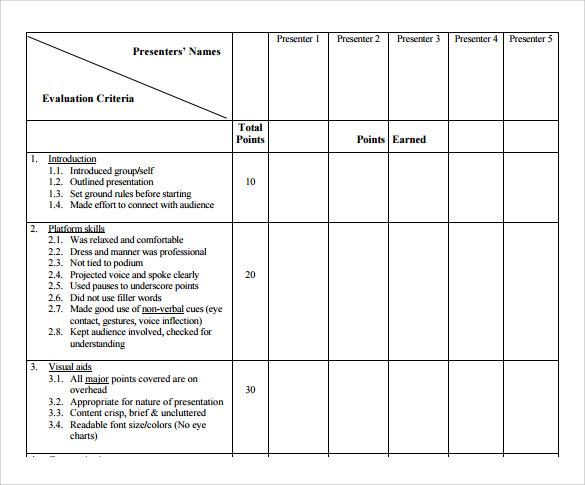 Sample Presentation Evaluation Form Example AskingQuestionsForm