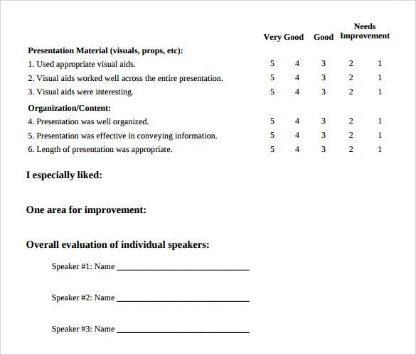 Presentation Evaluation Forms u2013 8+ Free Samples, Examples \ Formats - sample presentation evaluation form example