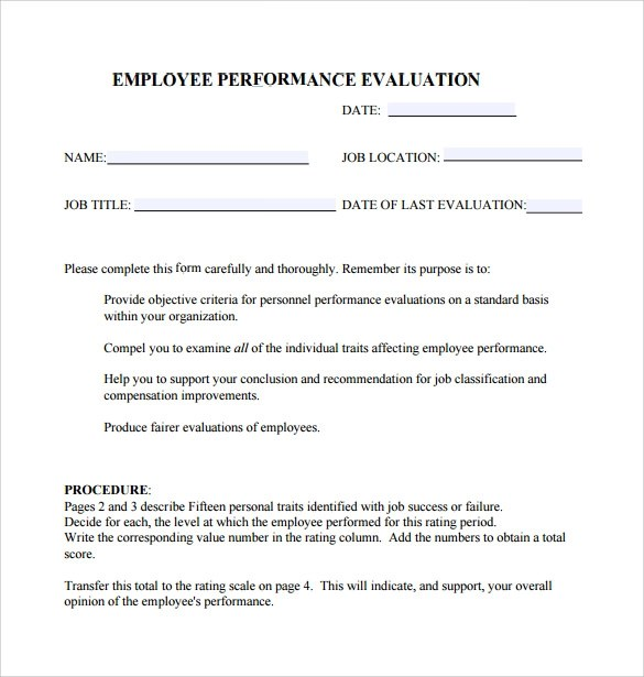 Performance Evaluation Form - 9+ Free Samples , Examples \ Formats - performance evaluation forms free