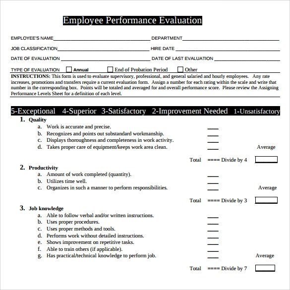Performance Evaluation Form Midyearemployeeevaluationform_Word - performance evaluation forms free