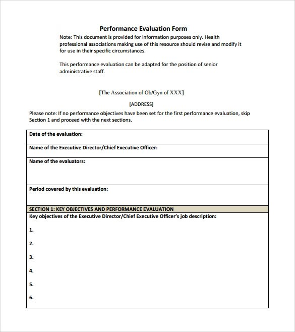 Evaluation Form Templates Performance Evaluation Form 9 Free Samples Examples