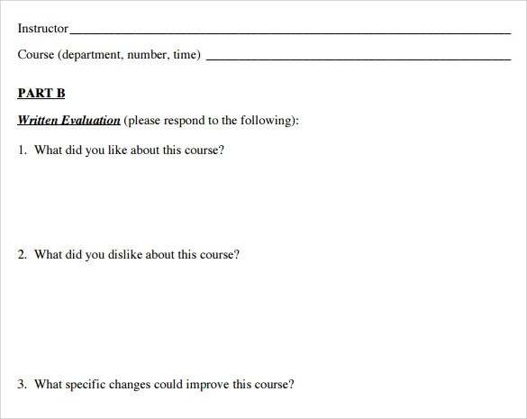 Student Evaluation Forms - 7+ Free Samples, Examples \ Formats - sample student evaluation forms