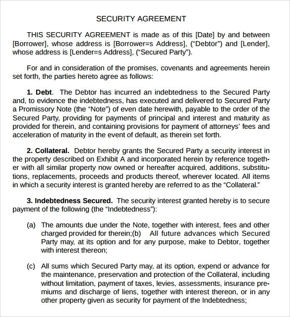 Sample Security Agreement - 7+ Documents In PDF, Word - sample security agreement