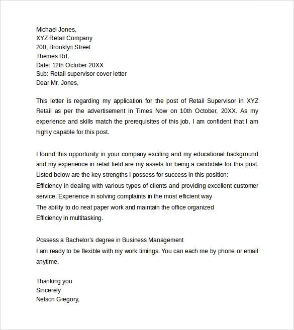 standard cover letter format