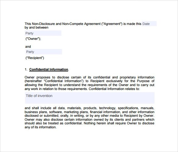 8+ Sample Non Compete Agreements \u2013 PDF, DOC Sample Templates
