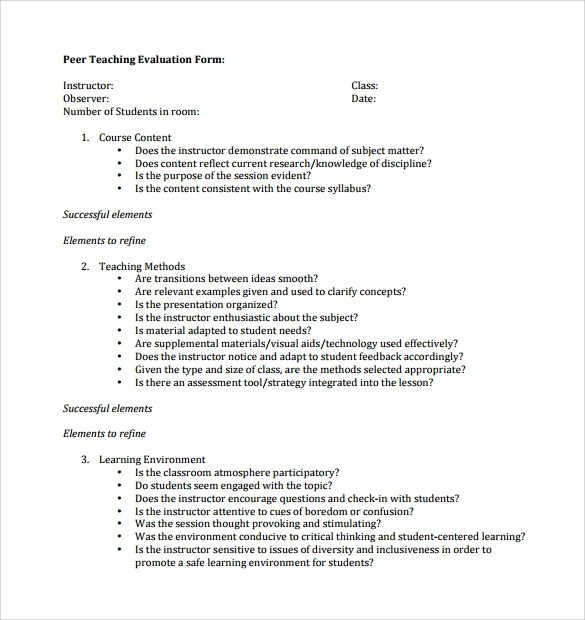 Peer Evaluation Form - 6+ Free Samples , Examples \ Formats - teaching evaluation form