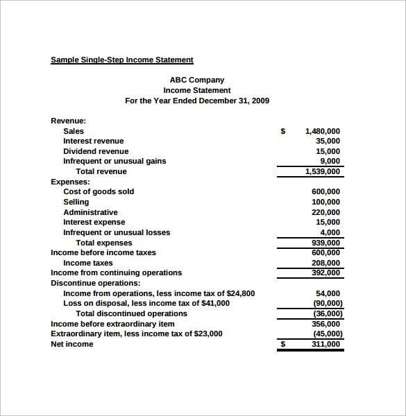 7 Simple Income Statements \u2013 Samples , Examples  Format Sample