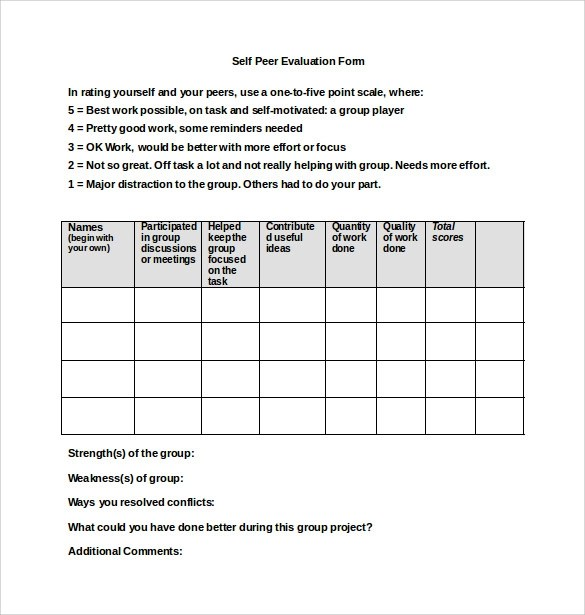 Peer Evaluation Form Management Performance Analysis Date Type Of