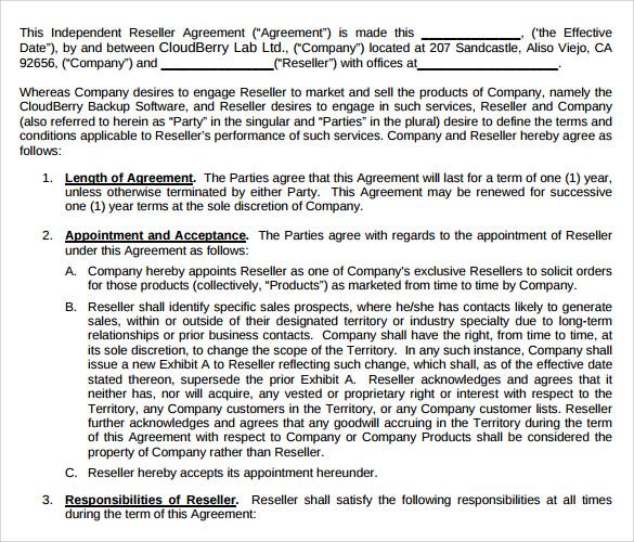 Sample reseller agreement