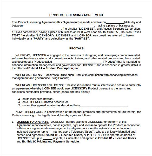 Sample License Agreement - 8+ Example, Format - sample licensing agreement